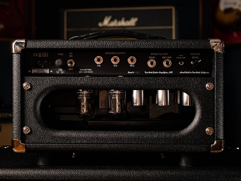 Two-Rock Studio Signature 35 Watt Tube Head - Black Chassis, Black Bronco Tolex, Black Matrix Grill, Silver Knobs - Walt Grace Vintage