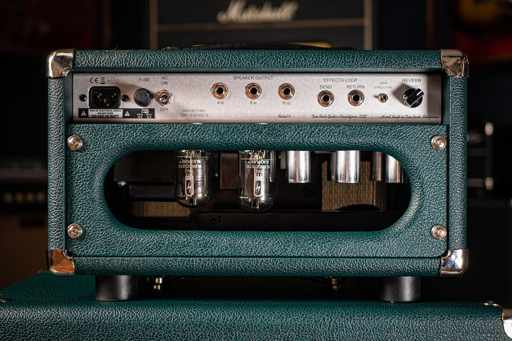 Two-Rock Studio Signature 35 Watt Tube Head - Silver Chassis, British Racing Green, Cane Grill, Silver Knobs - Walt Grace Vintage