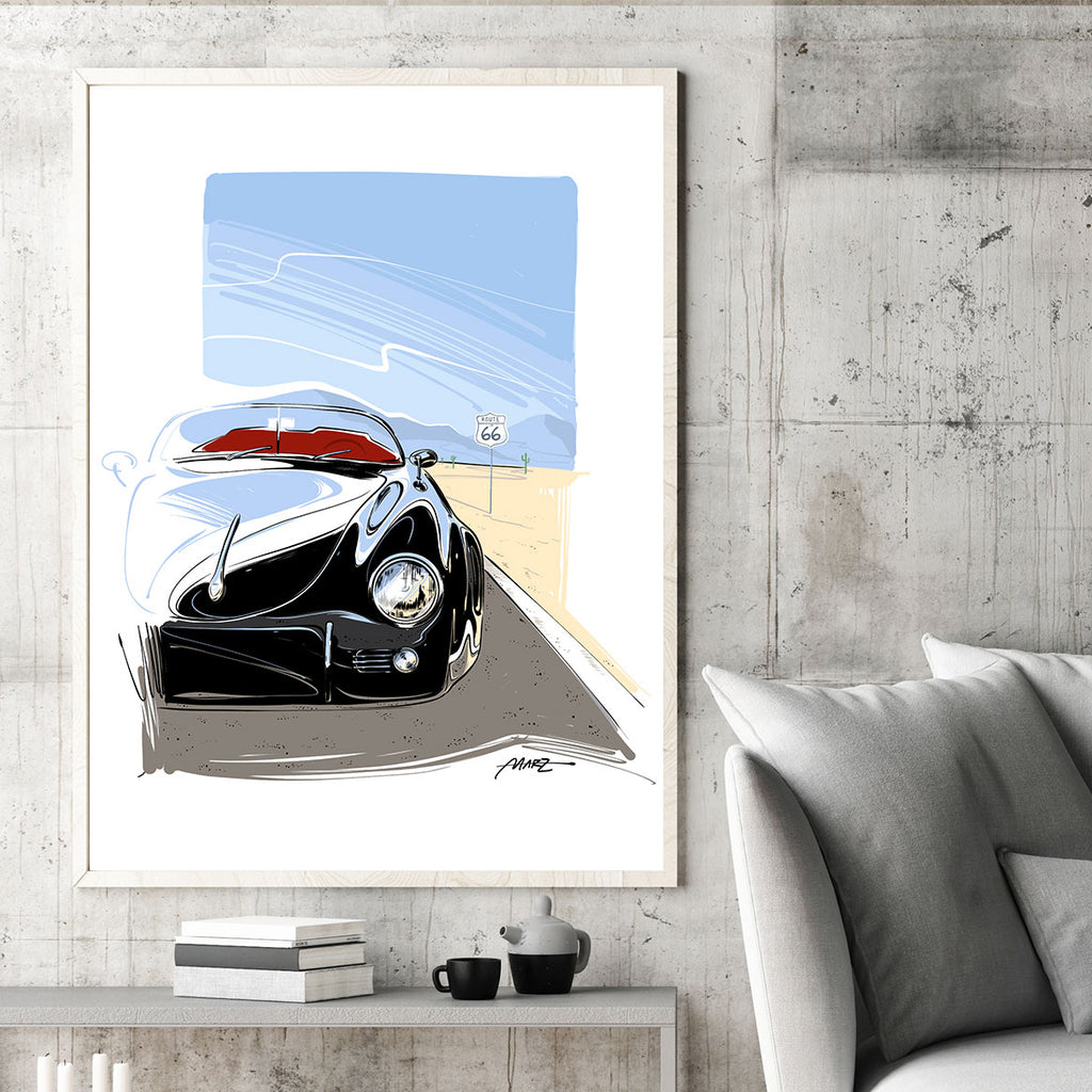 "Marz Ink - Porsche 356 ""Outlaw on Route 66"" - 1 of 50 (ACRYLIC/METAL) - Walt Grace Vintage"