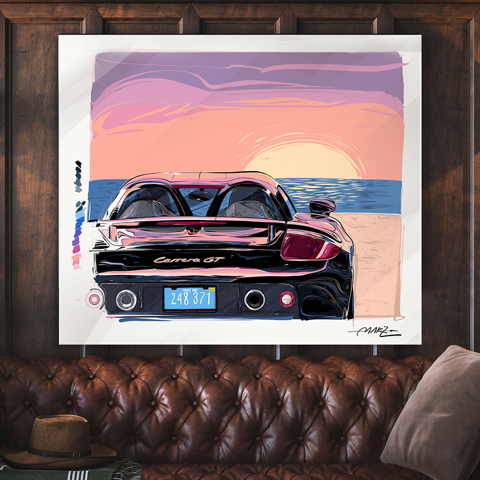"Marz Ink - Carrera GT ""Miami Beach Sunset""(ACRYLIC/METAL) - 1 of 50 - Walt Grace Vintage"