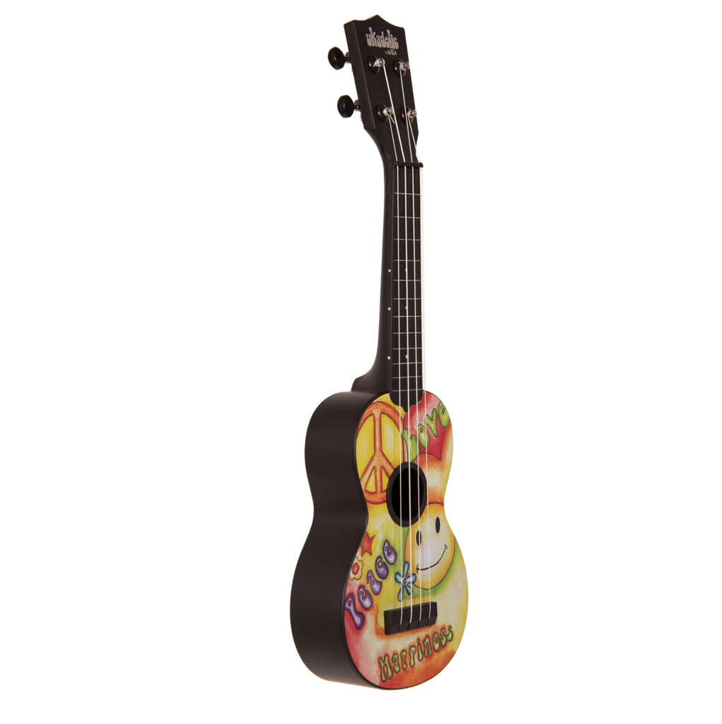 Kala Ukadelic Peace Love Soprano Ukulele with Bag - Walt Grace Vintage