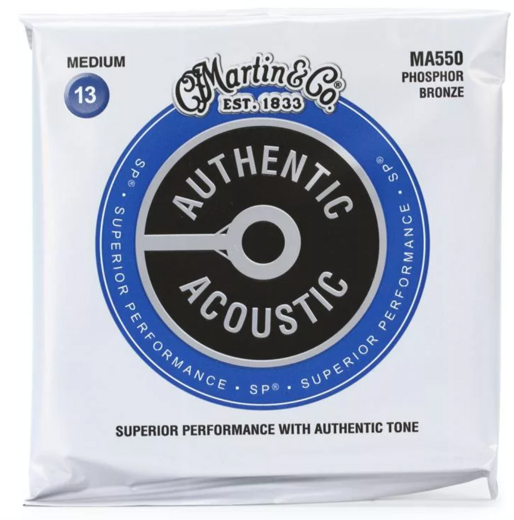 Martin MA550 Authentic Acoustic Superior Performance Guitar Strings - Phosphor Bronze Medium 13's - Walt Grace Vintage