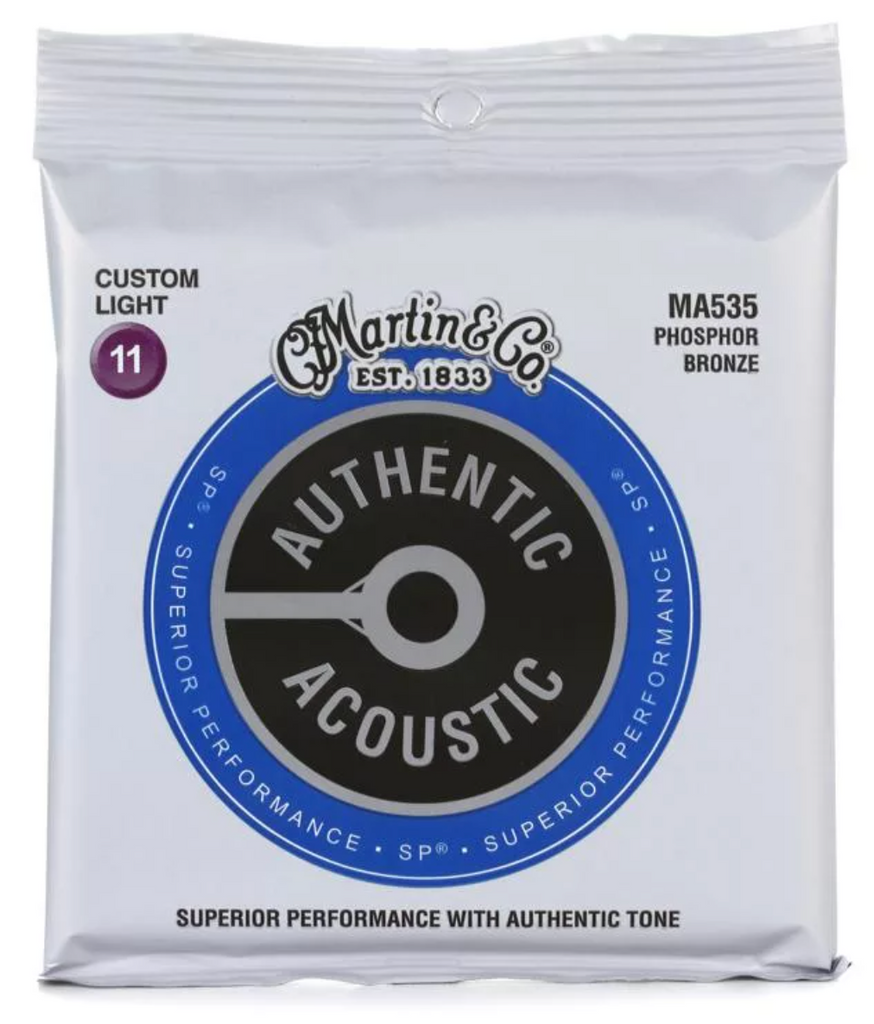 Martin MA535 Authentic Acoustic SP Guitar Strings Phosphor Bronze - Light 11's - Walt Grace Vintage