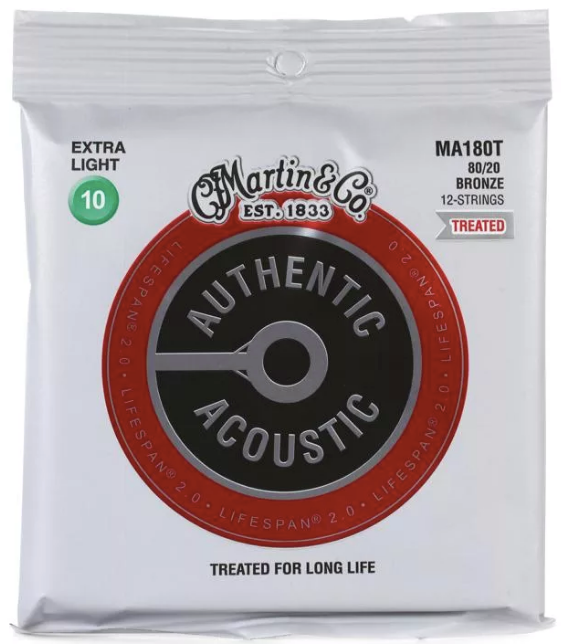 Martin MA180T Authentic Acoustic Lifespan 2.0 Treated Guitar Strings - 80/20 Bronze 12 String Extra Light - Walt Grace Vintage