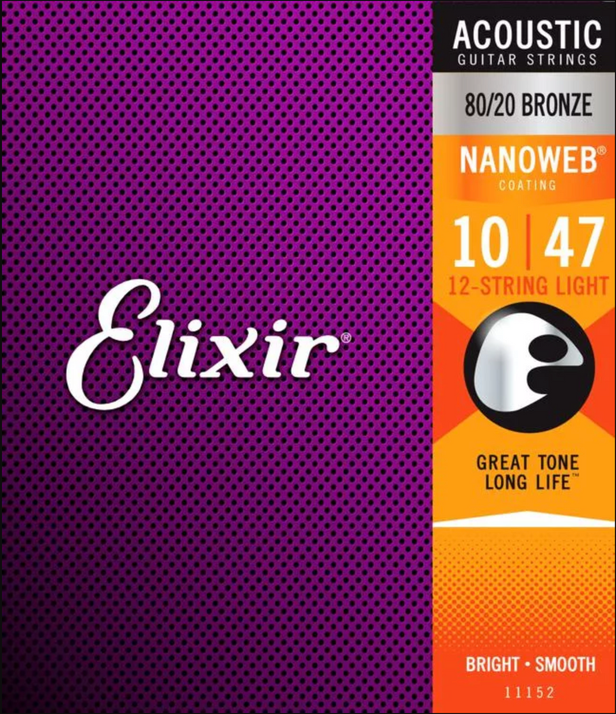 Elixir Strings Nanoweb 80/20 Acoustic Guitar 12-Strings .010-.047 Extra Light