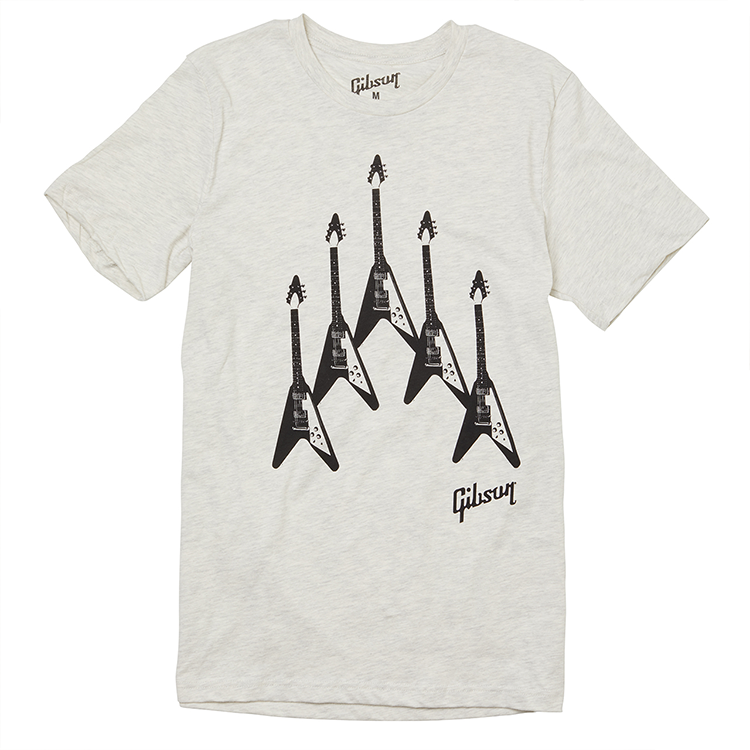 Gibson Flying V 'Formation' T-Shirt -White - Walt Grace Vintage