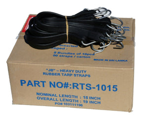 "15"" Rubber Tarp Straps with S-Hooks Attached (50 per Box)  
