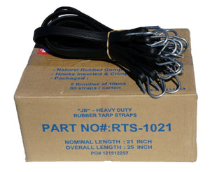 "21"" Rubber Tarp Straps with S-Hooks Attached (50 per Box)  