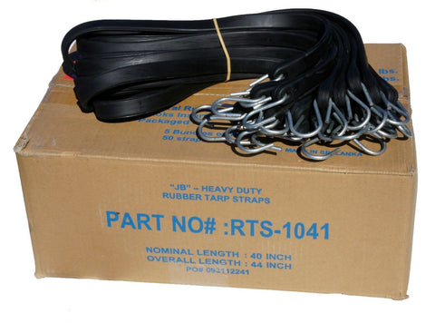 "41"" Rubber Tarp Straps with S-Hooks Attached (50 per Box)  