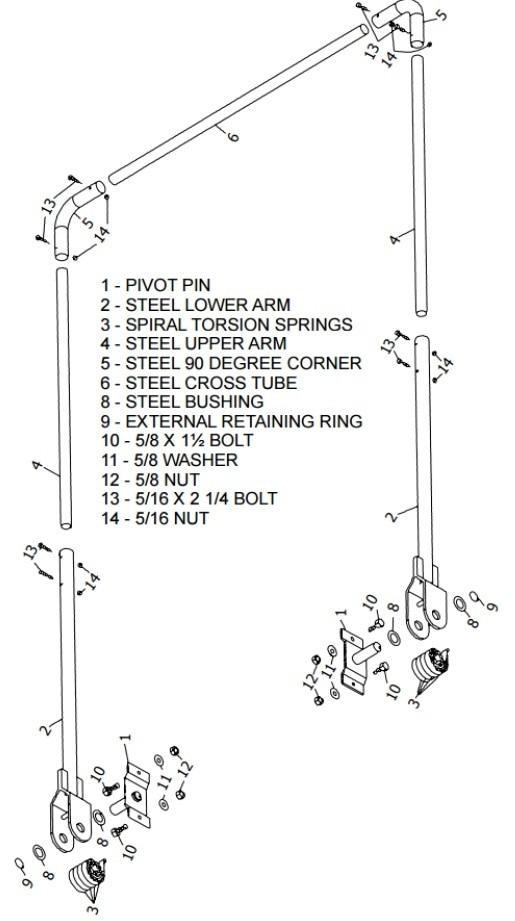 Steel 5 Spring Arm Set with Springs, Hardware and Tarp Centering Flanges | Tarping-Systems-Inc.