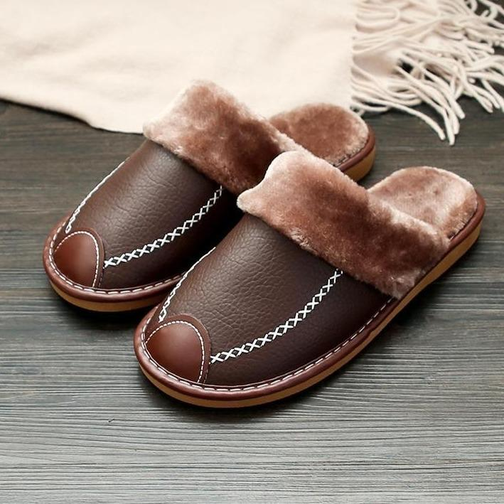2020 WINTER SUPER COMFORTABLE LEATHER WATERPROOF AND WARM SLIPPERS Cayyogo
