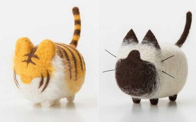 2PCS DIY MERINO WOOL CAT & DOG POCKET DOLL KITS