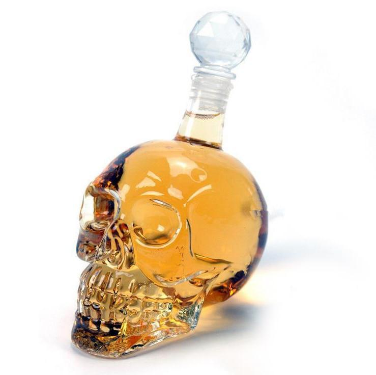 CREATIVE CRYSTAL SKULL WHISKEY VODKA DECANTER BOTTLE