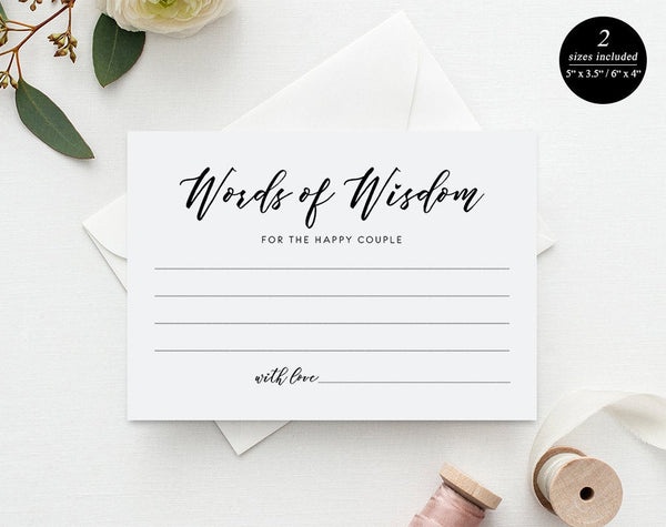Words Of Wisdom Card Wedding Advice Card Advice Printable Marriage As Pretty Paperie Photoshop Templates Diy Templates Editable Templates Online Template Printable