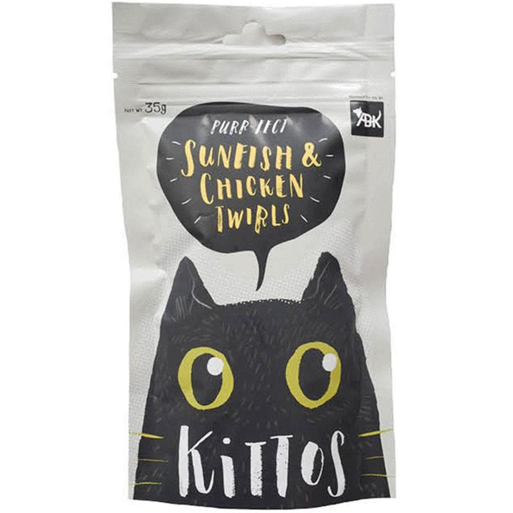 Kittos Purr-Fect Sunfish & Chicken Twirls Cat Treats - 35 gms