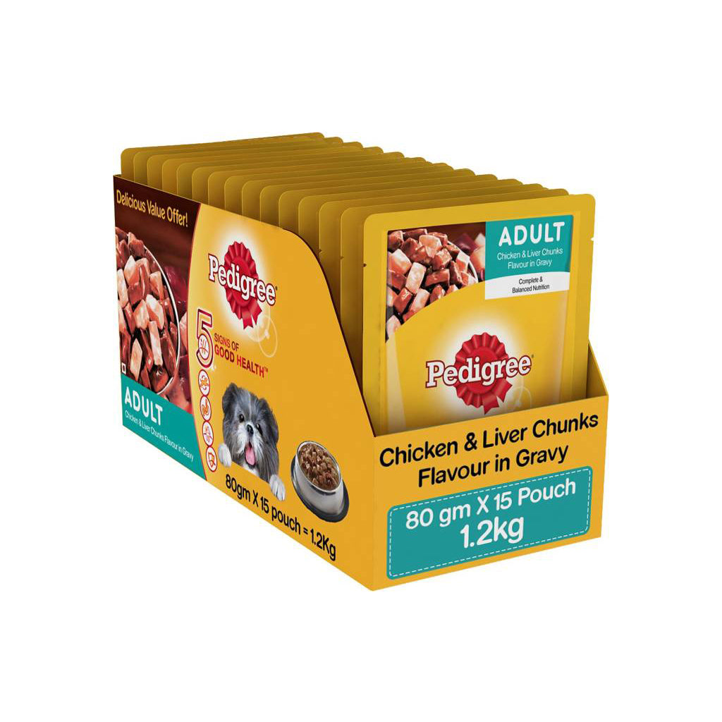 Pedigree Adult Chicken & Liver Chunks in Gravy 80g (Pack of 15)