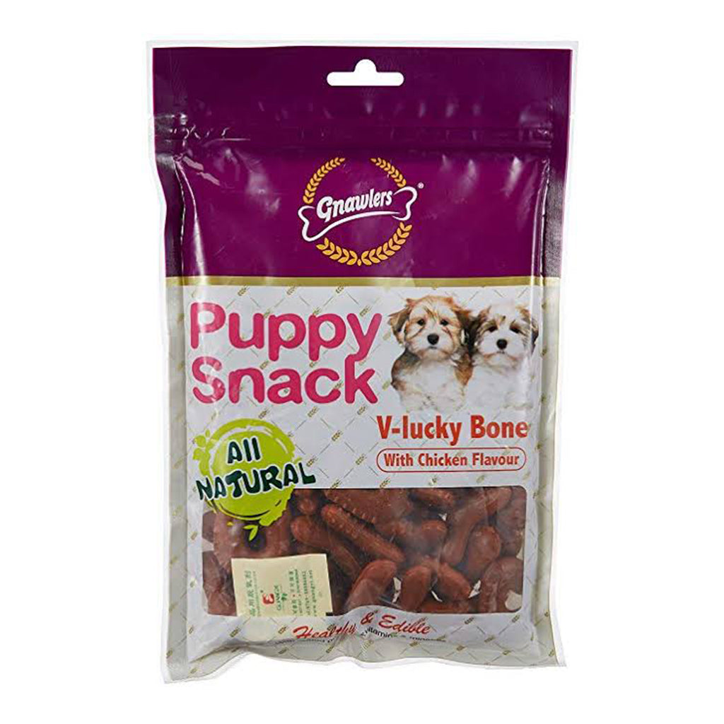 Gnawlers Puppy Snack V-Lucky Bone Chicken Flavour - 270G