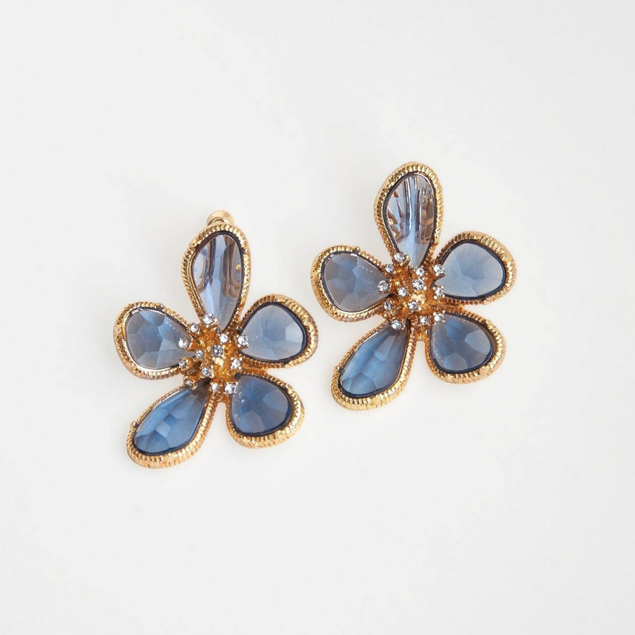 Blue Iris Gem Clip-on Earrings - earaclips