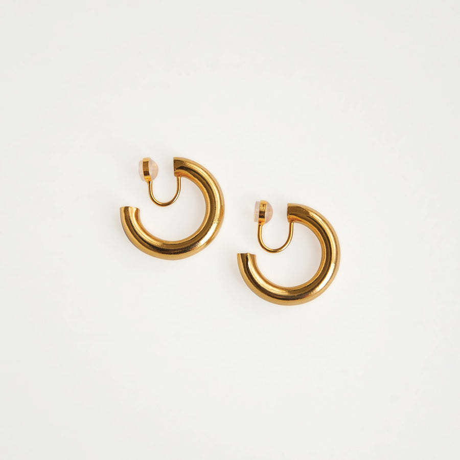 Aaliyah Clip-on Gold Hoop Earrings - earaclips