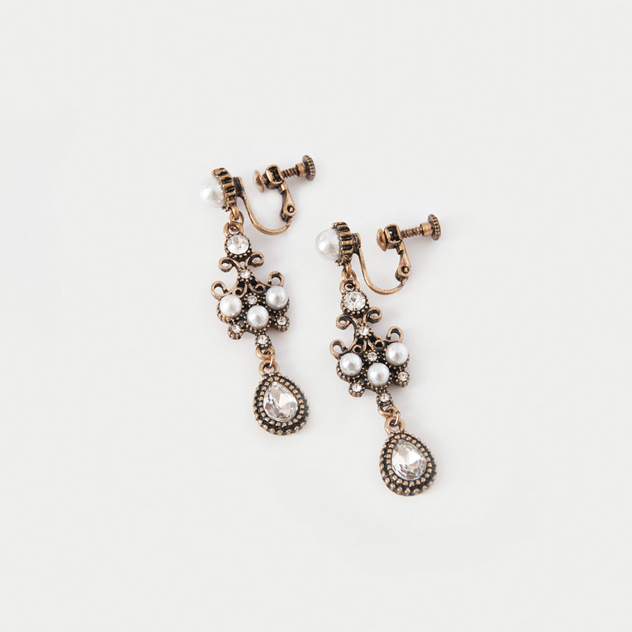 Elizabeth Pearl Dangle Clip-On Earrings - earaclips