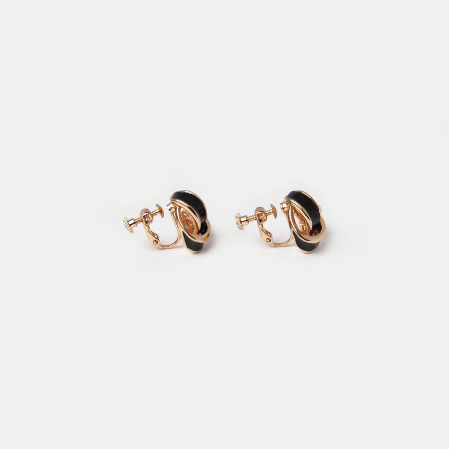 Black & Gold Stud Clip-on Earrings - earaclips