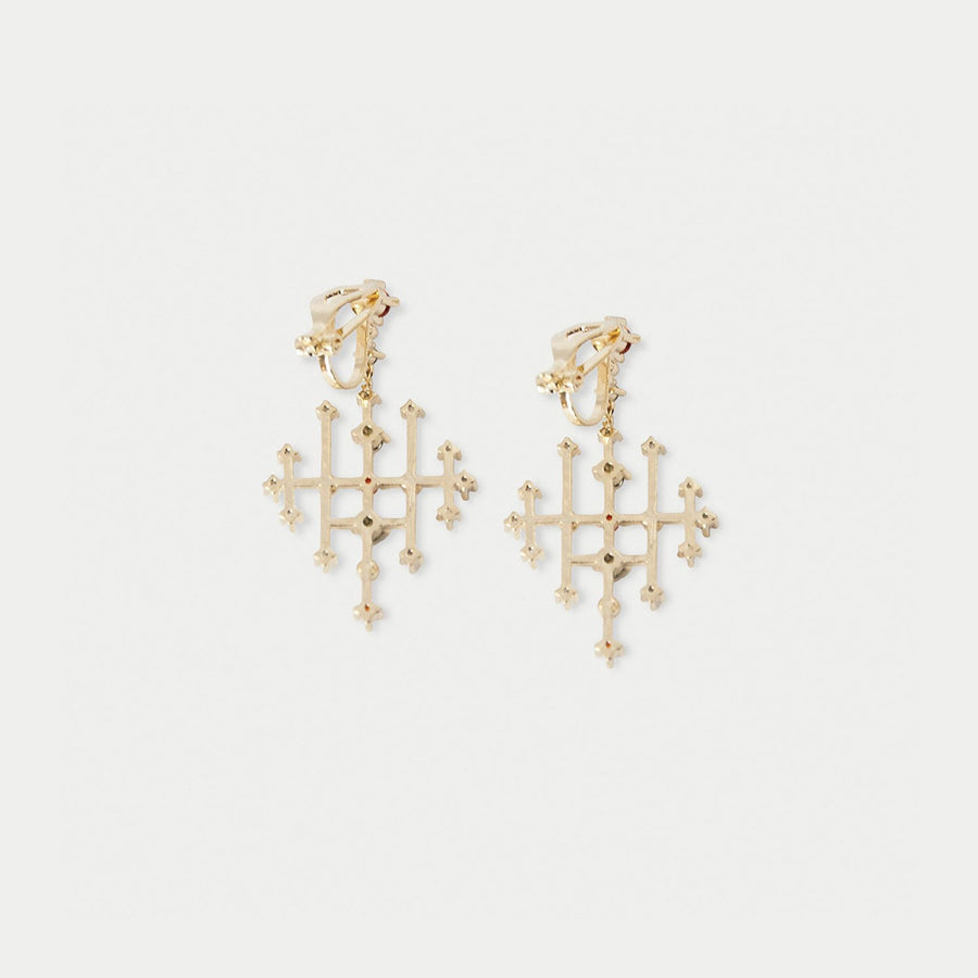 Bokhara Jewel Dangles Clip-on Earrings - earaclips