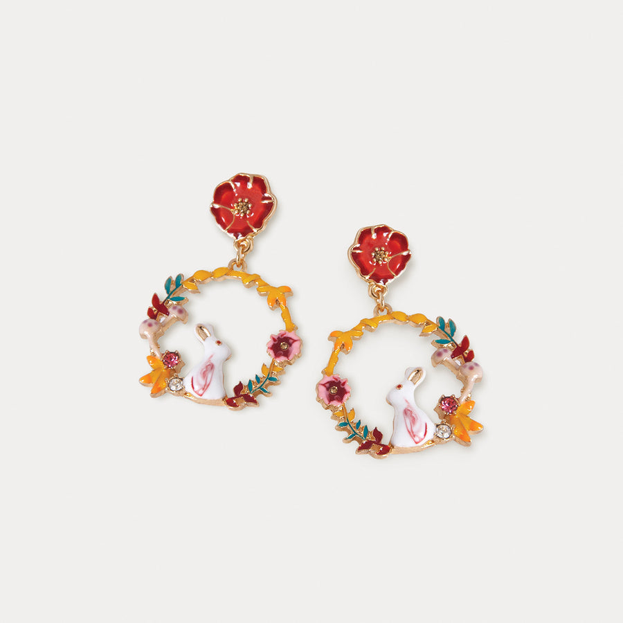 Rabbit Hoop Clip-on Earrings - earaclips