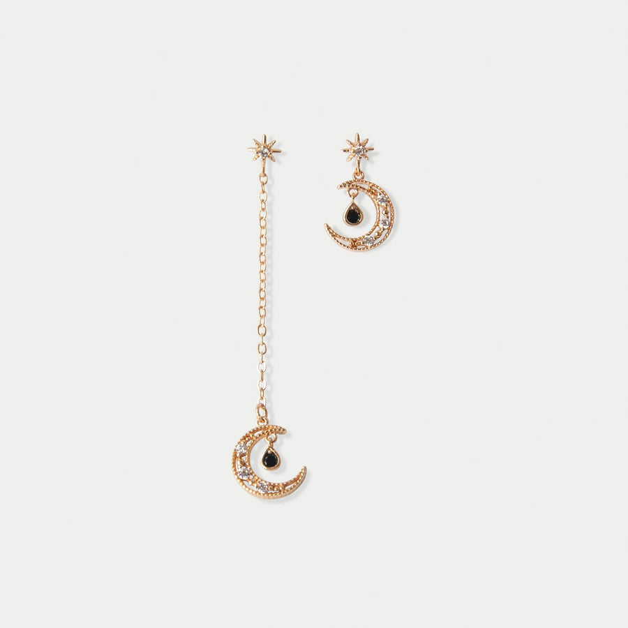 Luna Drop Asymmetrical Invisible Clip-on Earrings in Gold - earaclips
