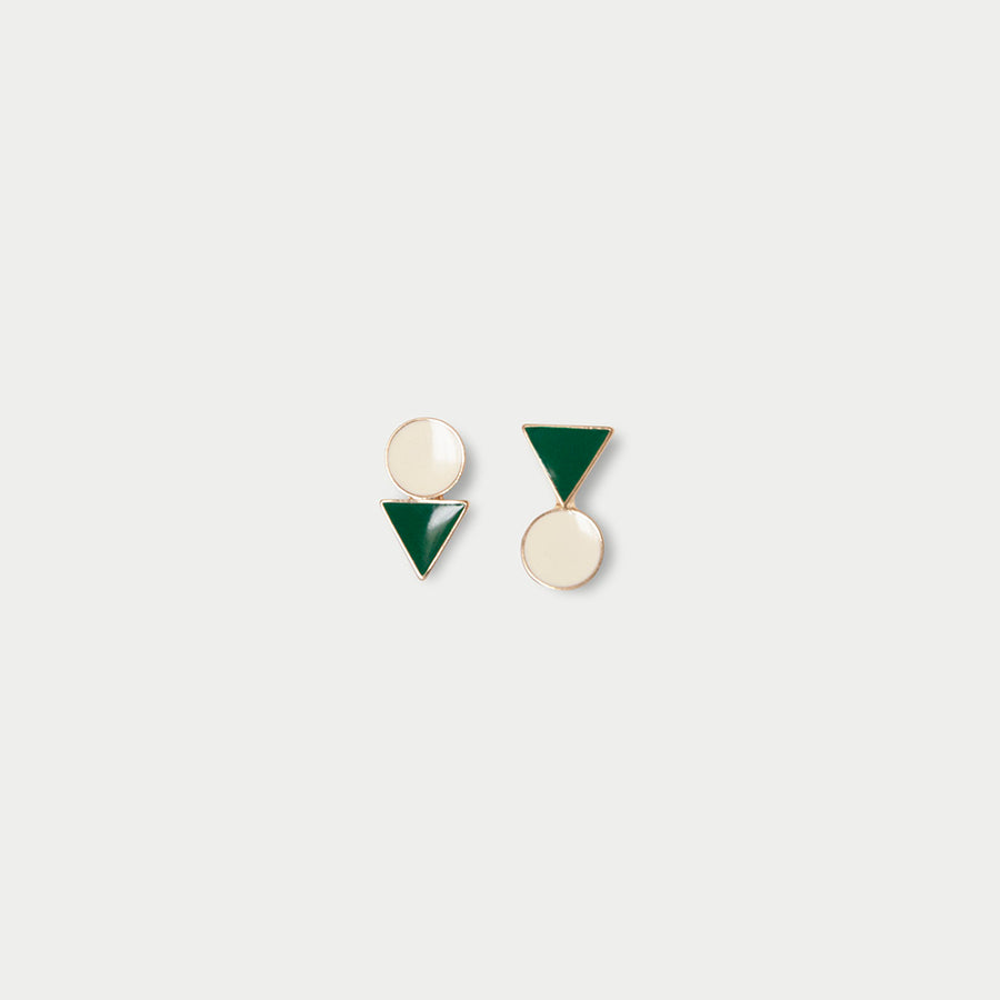 Geometric Clip-on Earrings in Green - earaclips