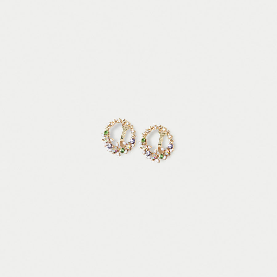 Floral Wreath Stud Clip-on Earrings - earaclips