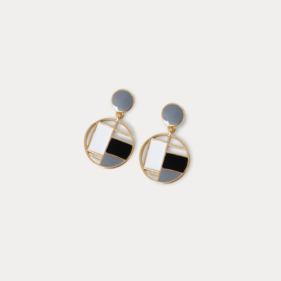 Mondrian Clip-on Earrings in Gray - earaclips