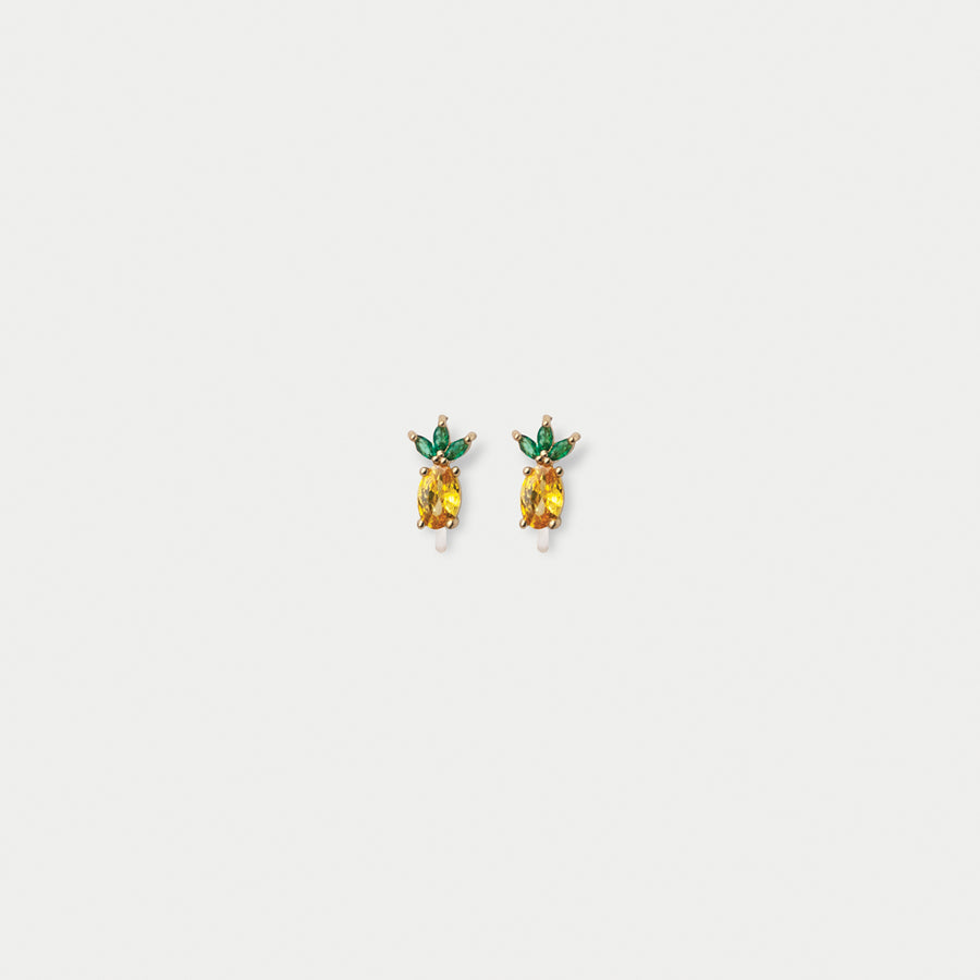 Crystalline Pineapple Stud Earrings - Eara Clips