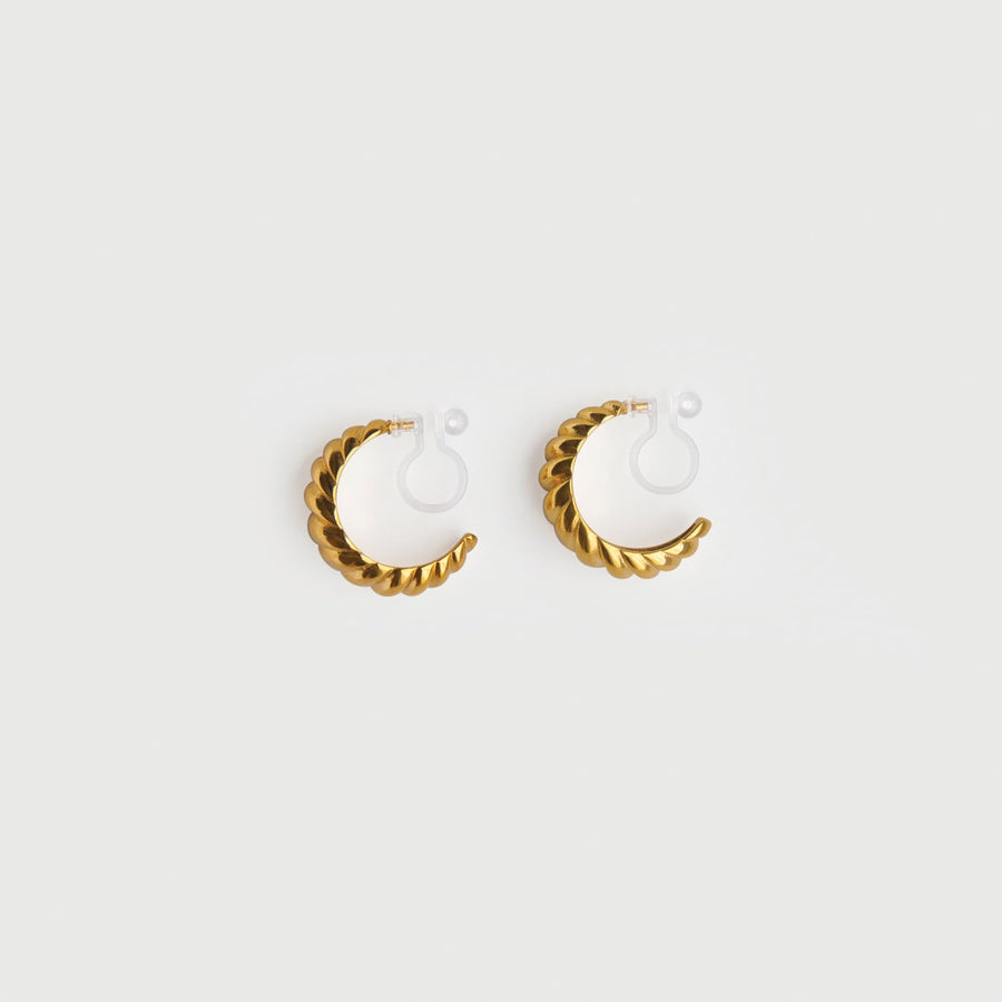 Moon Shell Clip-on Hoop Earrings - earaclips