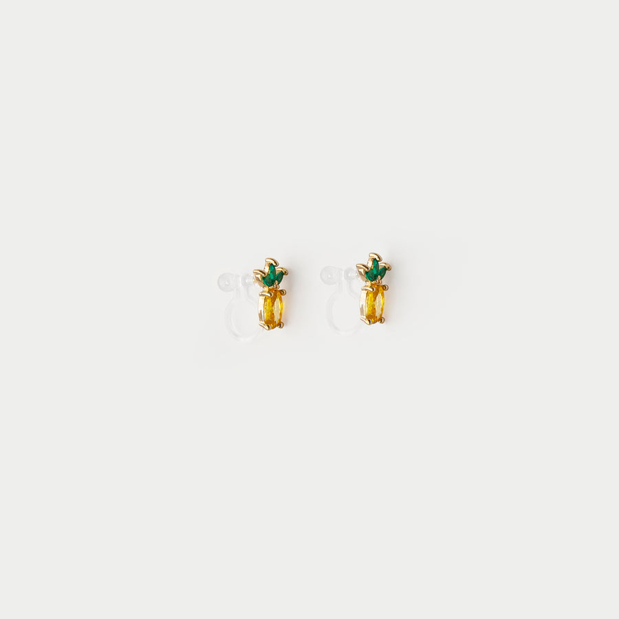 Crystalline Pineapple Stud Earrings - earaclips