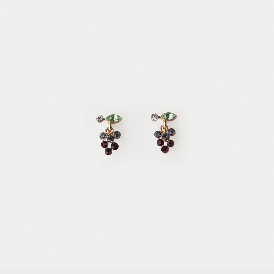 Grape Dangle Stud Earrings - earaclips