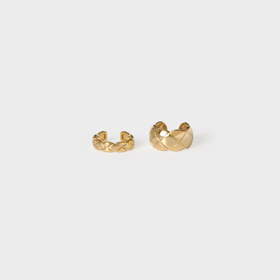 Hera Quilted Cuff Set in Gold - earaclips