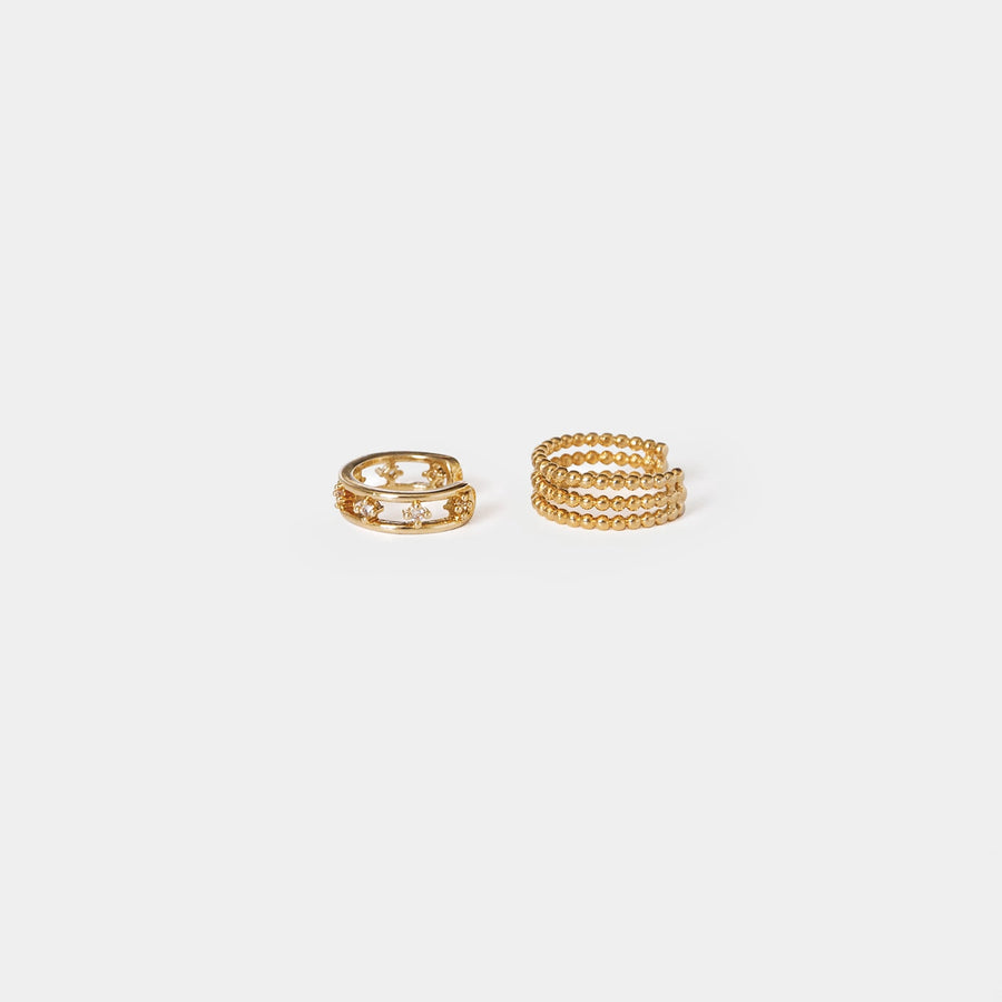 Pearlina Gold Beaded Cuff Set - earaclips