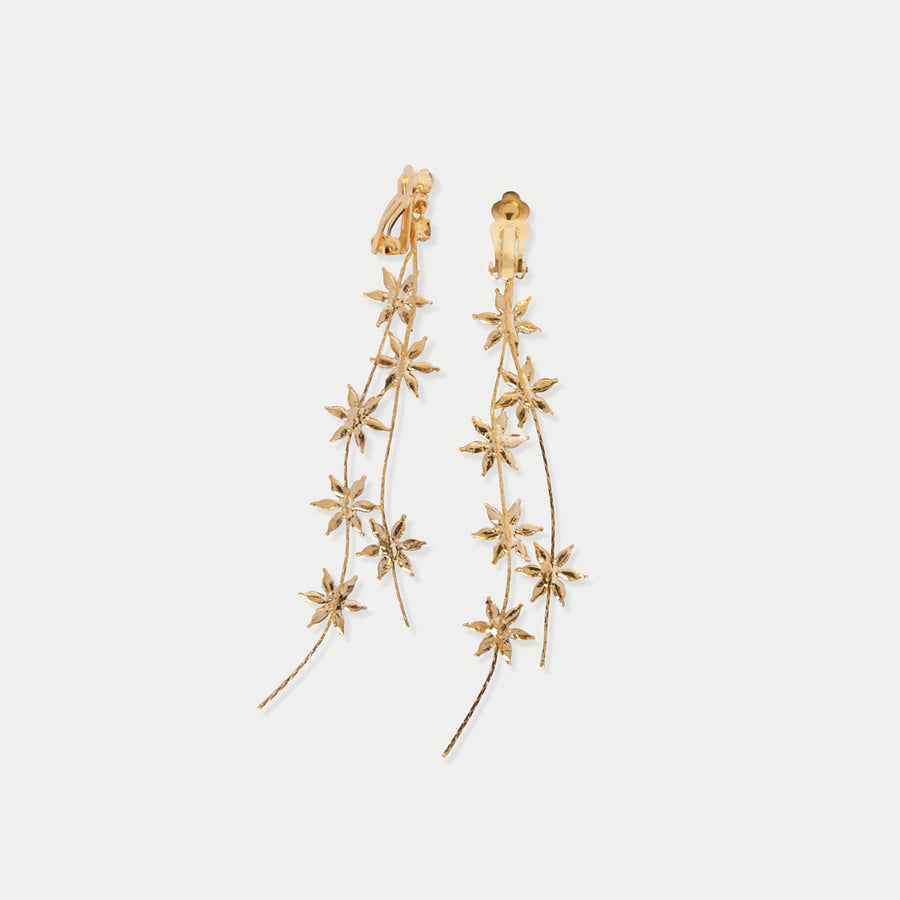 Star Jasmine Drop Clip-on Earrings - earaclips