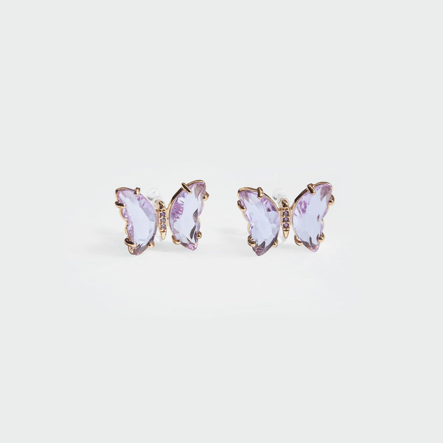 Kira Butterfly Stud Clip-on Earrings in Lilac - Eara Clips