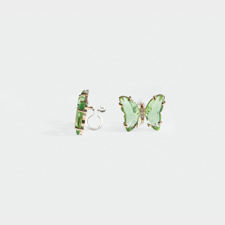 Kira Butterfly Stud Clip-on earrings in Lime Green - earaclips
