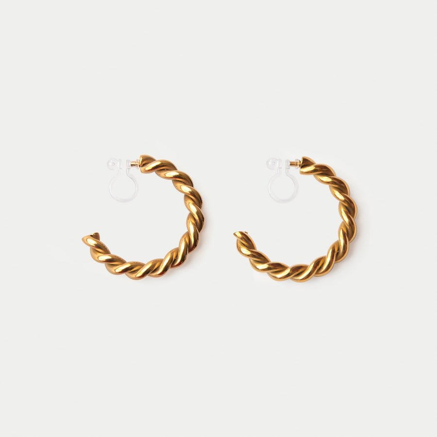 Aurelia Twisted Clip-on Gold Hoop Earrings - earaclips