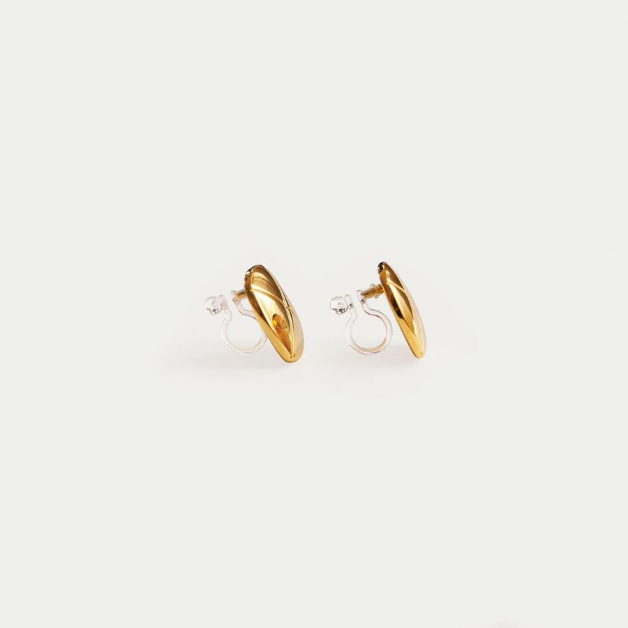 Gold Button Clip-on Stud Earrings - Eara Clips