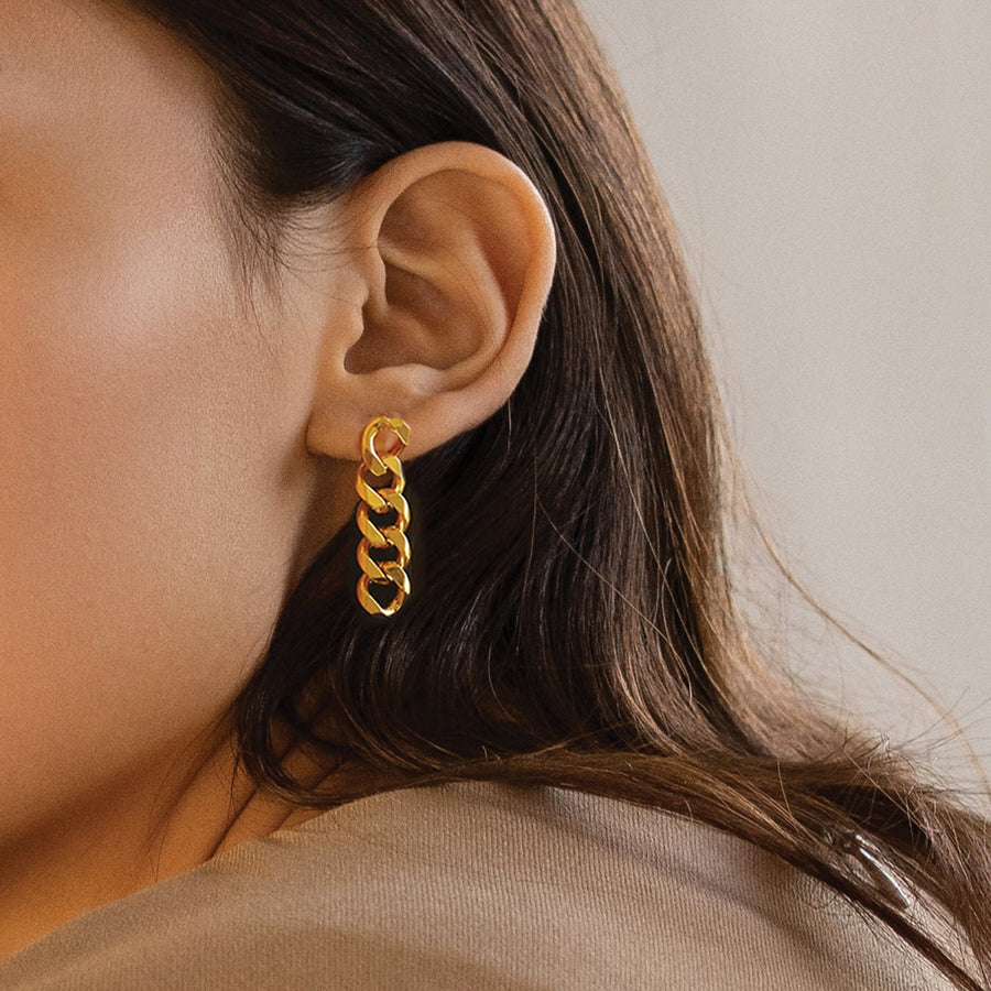 Asymmetrical Curb Chain Clip-on Earrings in Gold - earaclips