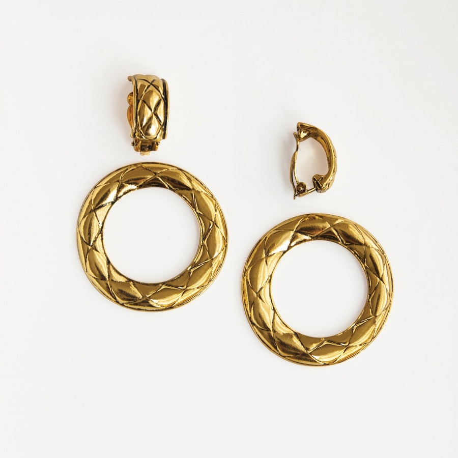 Prima Donna Gold Quilted Clip-on Hoop Earrings - earaclips