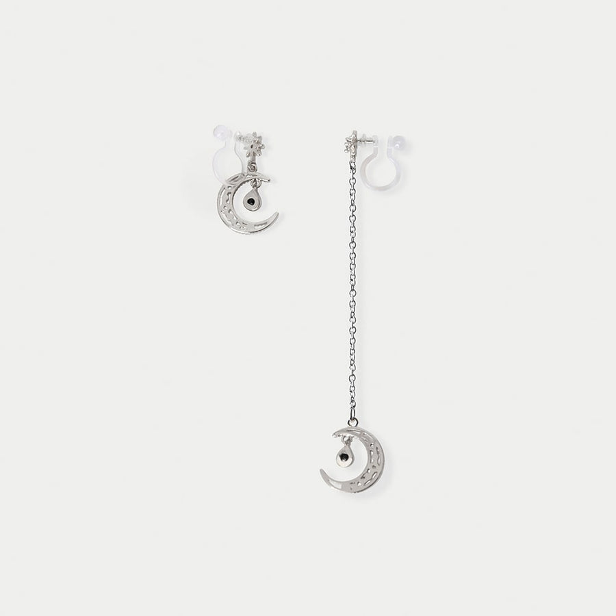 Luna Drop Asymmetrical Invisible Clip-on Earrings in Silver - earaclips