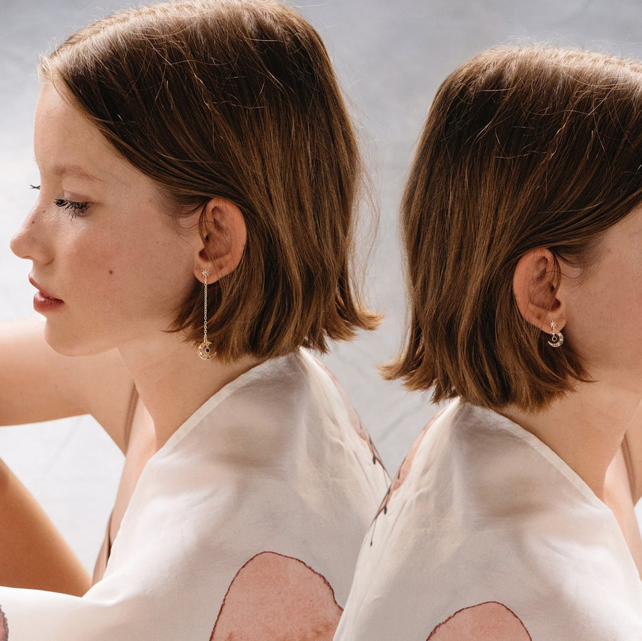 Luna Drop Asymmetrical Invisible Clip-on Earrings - earaclips