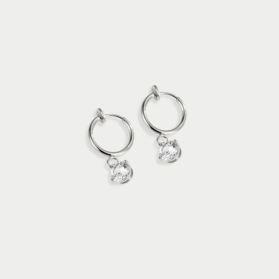 Dew Drop Clip-on Hoops in Silver - earaclips