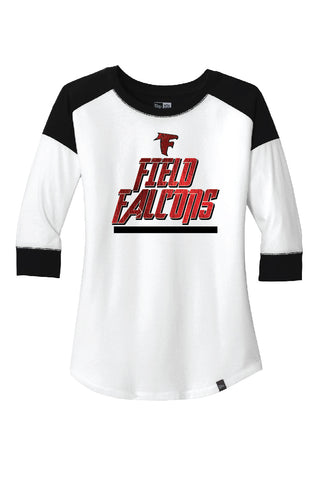field falcons custom spirit wear tee with red foil and black vinyl logo.
