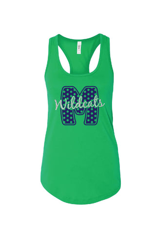 Big M with polka dots on kelly green tank, wildcats over M