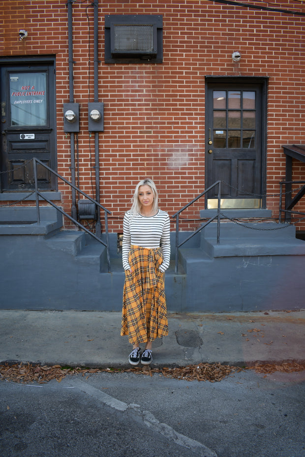 Gwen Mustard Plaid Dress